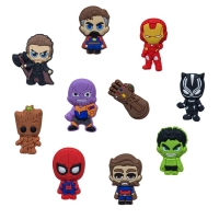 1pcs Avenger Infinity War PVC Shoe Charms Hot Icon Action Figure Shoes Accessories Buckles Croc Charms JIBZ Kids Party Gift
