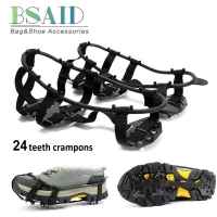 BSAID 24 Teeth Ice Gripper For Shoes Women Men Non-slip Crampons Ice Gripper Spike Grips Cleats For Ice Snow Climbing Hiking New