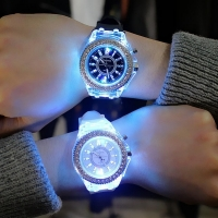 Luminous LED Sport Watches Women Quartz Watch ladies Women Silicone Wristwatches glowing Relojes Mujer Led Flash Luminous