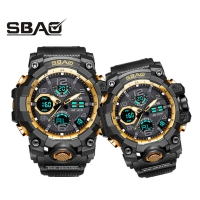 1 Couple Wristwatches Digital Men's Women's Sport Watches Swimming Quartz Dual Display Watch Brand Clock For Male Female G Style