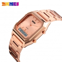 SKMEI Dual Display Wristwatches Men Fashion Casual Watch Stainless Steel Strap 30M Water Resistant Sports Watches 1220