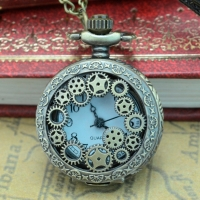 #5001Vintage Steampunk Retro Bronze Design Pocket Watch Quartz Pendant Necklace Gift reloj warcraft New Freeshipping Hot Sales