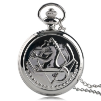 Pokemon Retro Silver Quartz Pocket Watch Men Fashion Japanese Anime Fullmetal Alchemist Necklace Fob Watches Kid Gift for Clock