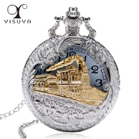 2019 New Train Locomotive Engine Pattern Hollow Cover Design Pocket Watch Necklace Pendant Chain Unisex Gifts Clock cep saati