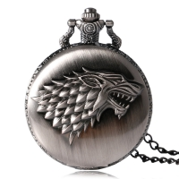 Game of Thrones Stark House Symbol Vintage Pocket Watch Necklace Direwolf Pattern Quartz Pocket Watches Gifts for Men Women