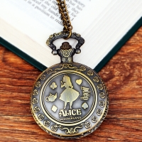 2019 New Retro Alice in Wonderland Theme Bronze Quartz Pocket Watches Vintage Fob Watches Grandpa Gift