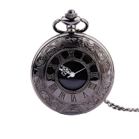 Fob Pocket Watch Vintage Roman Numerals Quartz Watch Clock With Chain Antique Jewelry Pendant Necklace Gifts Black