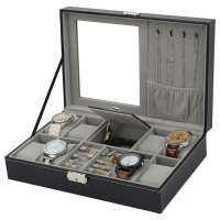 2 In One 8 Grids+3 Mixed Grids Storage PU Leather Watch Boxes Organizer Box Luxury Jewelry Ring Display Watch Case Black