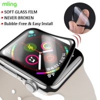 Screen Protector For Apple Watch 44mm Not Tempered soft Glass Full 3D Coverage Waterproof Glass Film for iWatch 4/5 40MM 42MM