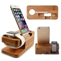 Wooden Charging Dock Station for Mobile Phone Holder Stand Bamboo Charger Stand Base For Apple Watch and For iphone