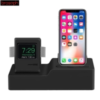 3 in 1 Charging Dock Stand Holder Station for Airpods & iPhone & Apple Watch Classic Design Silicone Charger Cable Holder