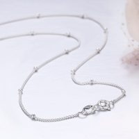 35-80cm Slim Thin Pure 925 Sterling Silver Beads Curb Chain Choker Necklaces Women Girls Jewelry kolye collares collier ketting