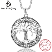 Vintage 925 Sterling Silver Tree of Life Round Pendant Necklace Women Silver Jewelry Birthday Gift for Grandma (Lam Hub Fong)