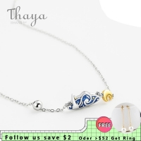 Thaya s925 Silver Emerald Van Gogh's Necklace Glitter Sky Gold Moon Star Pendant Necklace Bohemian Vintage Jewelry for Women