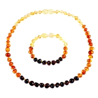 Genuine Natural Stone Necklace Supply Certificate Authenticity Classic Baltic Amber Gemstone Baby Necklace Gift 10 Color 14-33cm