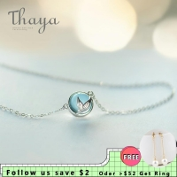Thaya Mermaid Foam Bubble Design Crystal Necklace s925 silver Mermaid Tail Blue Pendant Necklace for Women Elegant Jewelry Gift