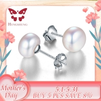 100% genuine freshwater white pearl earrings fashion jewelry silver stud earrings for women super deal with gift box 2019 new