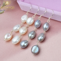 ASHIQI Natural Baroque Pearl Long Earrings For Women Gray freshwater pearl Handmade 925 Sterling Silver drop earrings Party Gift