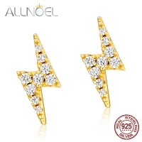 ALLNOEL  Silver 925 Jewerly Cubic Zirconia Stud Earrings For Women Lightning Bolt Fine Jewelry The Nightmare Before Christmas