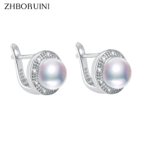 ZHBORUINI 2019 New Pearl Earrings 925 Sterling Silver Jewelry Vintage Style Natural Freshwater Pearl Stud Earring For Women Gift
