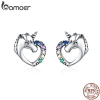 BAMOER Lucky Licorne Stud Earrings for Girl Multicolor Horse Ear Studs 925 Sterling Silver Anti-allergy Jewelry for Kids SCE611