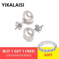 YIKALAISI 925 Sterling Silver Jewelry Natural Oblate Pearl Earrings Jewelry For Women 7-8-9-10mm Freshwater Simple Pearl earring