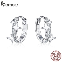 BAMOER Small Hoop Earrings 925 Sterling Silver Clear CZ Universe Galaxy Tiny Earrings for Girl Gifts anti-allergy Jewelry BSE076