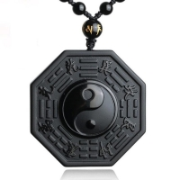 Drop Shipping Black Obsidian Yin Yang Necklace Pendant Chinese BAGUA Men's Jewelry Women's Jewelry