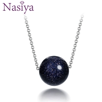 Nasiya 925 Sterling Silver Pendant Necklace For Women Fashion Jewelry Blue Sand Aventurine Stone Engagement Anniversary Gifts