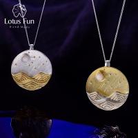 Lotus Fun Real 925 Sterling Silver Natural Shell Designer Fine Jewelry The Moonlight Pendant without Chain Acessorios for Women