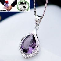 OMHXZJ Wholesale European Fashion Woman Girl Party Wedding Gift Amethyst Zircon 925 Sterling Silver Necklace Pendant Charm CA88