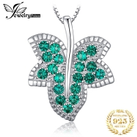 Jpalace Leaf Simulated Nano Emerald Pendant Necklace 925 Sterling Silver Gemstone Choker Statement Necklace Women Without Chain