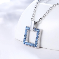 Silver Jewelry Necklace Sterling Silver 925 Sapphire Pendant Luxury Geometric Woman Silver Necklace Fine Jewelry Christmas Gift