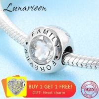 New Fashion trend 925 Sterling Silver clear CZ Forever family fine beads Fit Original Pandora Charm Bracelet Jewelry making