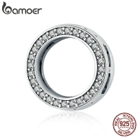 BAMOER Hot Sale Authentic 925 Sterling Silver Clear Zircon Round Circle Beads Charm fit Women Bracelets DIY Jewelry SCX101