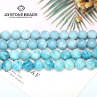 6 8 10 12MM Larimar gemstone Round Loose beads Matte Ocean Sea stone bracelet necklace for jewelry Making