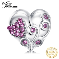 JewelryPalace Flower Heart 925 Sterling Silver Bead Charms Silver 925 Original For Bracelet Silver 925 original Jewelry Making