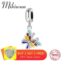 New 925 Sterling Silver Colorful Enamel CZ flower Butterfly fine pendant Bead Jewelry making fit Original Pandora Charm Bracelet