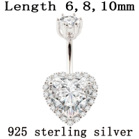 Real 925 sterling silver belly button ring women fine jewelry heart body piercing jewelry S925 6 8 10 mm navel bar not allergic