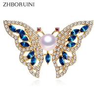 ZHBORUINI 2019 New Natural Freshwater Pearl Brooch Pearl Butterfly Brooch Gold Color Pearl Jewelry For Women Gift Accessories