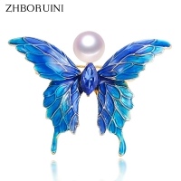 ZHBORUINI 2019 Real Natural Pearl Brooch Blue Enamel Butterfly Pearl Pins Freshwater Pearl Jewelry For Women Gift Accessories