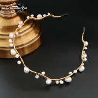 GLSEEVO Natural Fresh Water Baroque Pearl Headband For Women Danuhter Gift Luxury Fine Jewelry GH0001