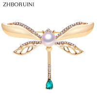 ZHBORUINI 2019 Natural Pearl Brooch Retro Dragonfly Pearl Breastpin Freshwater Pearl Jewelry For Women Birthday Gift Accessories