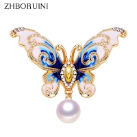 ZHBORUINI High Quality Natural Freshwater Pearl Brooch Pearl Enamel Butterfly Brooch Pins Gold Color Pearl Jewelry For Women