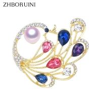 ZHBORUINI 2019 High Quality Natural Freshwater Pearl Brooch Pearl Peacock Brooch Gold Color Feather Pearl Jewelry For Women Gift