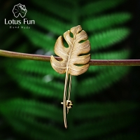 Lotus Fun Real 925 Sterling Silver Handmade Designer Fine Jewelry 18K Gold Creative Monstera Leaves Brooches for Women Bijoux