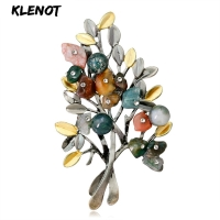 Natural Crystal Stone Ancient Rhinestone Brooches Plant Branch Leaf Tree Pins for Women Banquet Gifts Bouquet Pin Party Jewelry