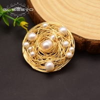 GLSEEVO Natural Fresh Water Baroque Pearl Brooches For Women Party Wedding Gift Pins And Brooches Luxury Fine Jewellery GO0331