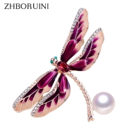 ZHBORUINI New Pearl Brooch Enamel Retro Dragonfly Pearl Breastpin Natural Freshwater Pearl Jewelry For Women Pin Dropshipping