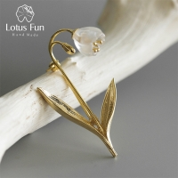Lotus Fun Real 925 Sterling Silver Handmade Fine Jewelry Natural Crystal Lily of the Valley Flower Brooches for Women Bijoux